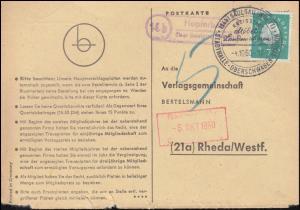 Landpost Hopferbach über Saulgaul auf Postkarte SSt SAULGAUL 4.10.60 nach Rheda