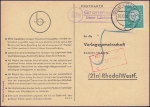 Landpost Granstedt über LÜCHOW 10.10.1960 auf Postkarte nach Rheda/Westf.