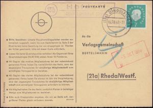 Landpost Hofdorf über Landshut (Bay) auf Postkarte DINGOLFING 4.10.60 nach Rheda