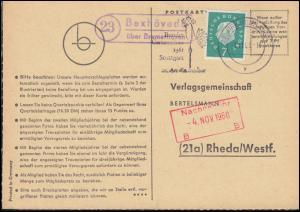 Landpost Bexhövede über BREMERHAVEN 3.11.60 auf Postkarte nach Rheda/Westf.