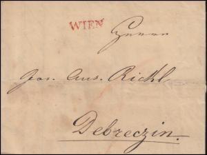Österreich Vorphilatelie Faltbrief Einzeiler WIEN vom 24.11.1829 nach Debreczin