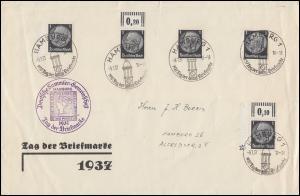 Sonderstempel HAMBURG Tag der Briefmarke 9.1.1937 auf fünf Marken 512 auf Brief