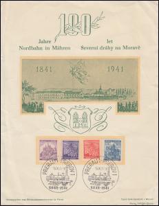 Böhmen-Mähren 100 Jahre Nordbahn Mähren SSt PRERAU 19.9.1941 auf Schmuckblatt
