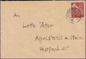 275 Volkswahlen EF auf Brief LEIPZIG N 21 - 13.10.50 nach Karlstadt/Main