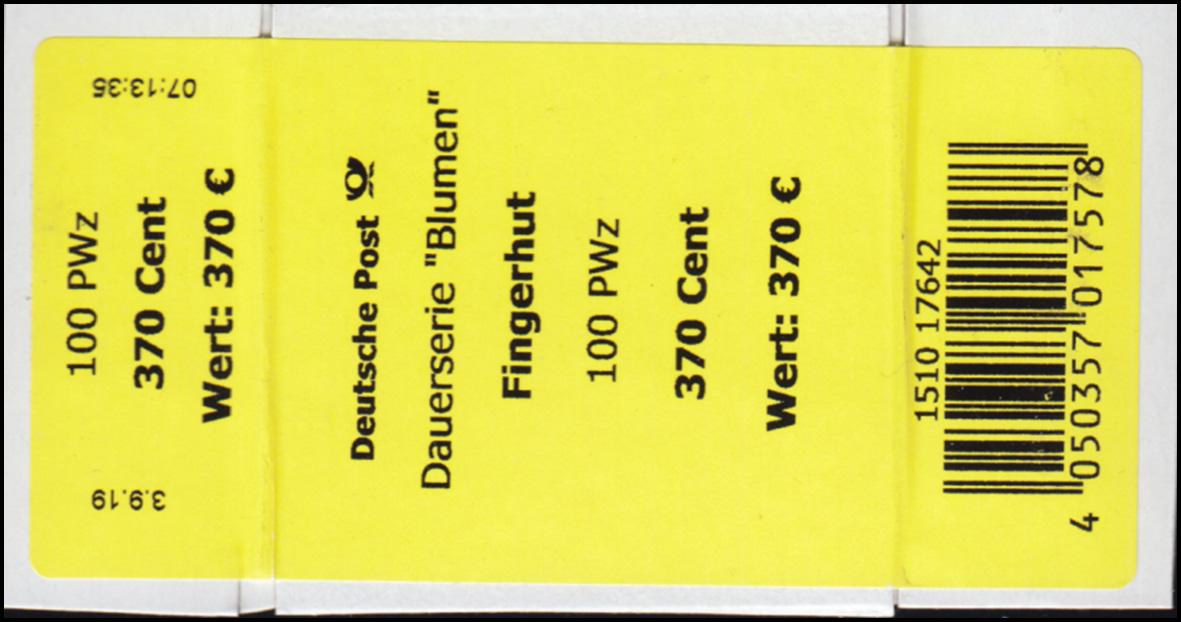 3501 Fingerhut 370 Cent + CF Banderole / Aufkleber 0