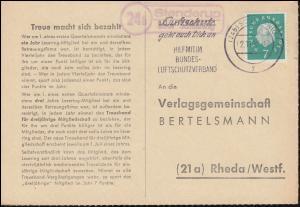 Landpost Stenderup über SCHLESWIG 2.11.1960 auf Bücherzettel nach Rheda/Westf.