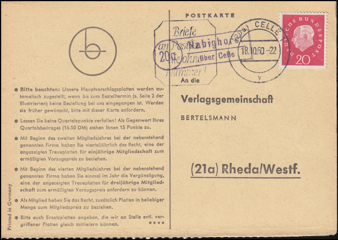 Landpost Habighorst über CELLE 18.10.1960 auf Postkarte nach Rheda/Westf. 0