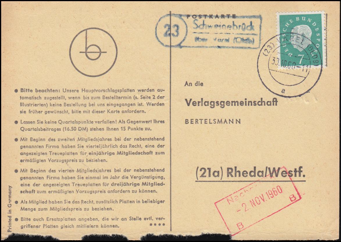 Landpost Schweinebrück über VAREL (OLDENB) 30.10.1960 auf Postkarte nach Rheda 0
