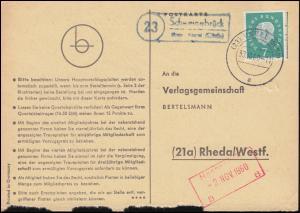 Landpost Schweinebrück über VAREL (OLDENB) 30.10.1960 auf Postkarte nach Rheda