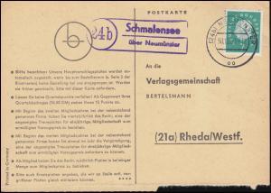 Landpost Schmalensee über NEUMÜNSTER 30.10.1960 auf Postkarte nach Rheda/Westf.