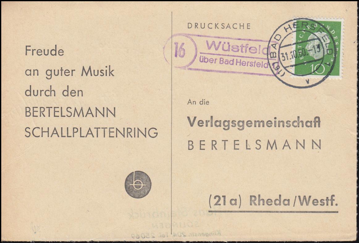Landpost Wüstfeld über BAD HERSFELD 31.10.1960 auf Drucksache nach Rheda/Westf. 0