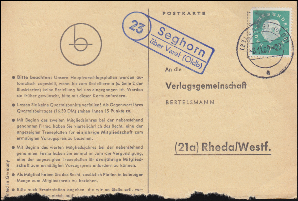 Landpost Seghorn über VAREL (OLDB) 3.11.1960 auf Postkarte nach Rheda/Westf. 0