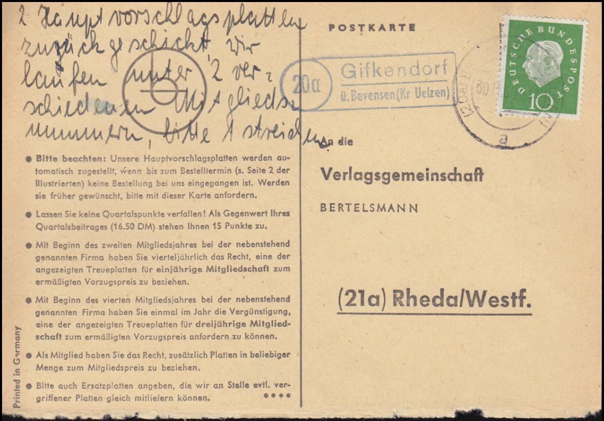 Landpost Gifkendorf über BEVENSEN (KR UELZEN) 30.12.60 auf Postkarte nach Rheda 0