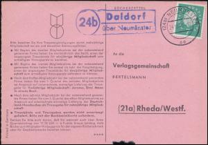 Landpost Daldorf über NEUMÜNSTER 24.10.1960 auf Bücherzettel nach Rheda/Westf.