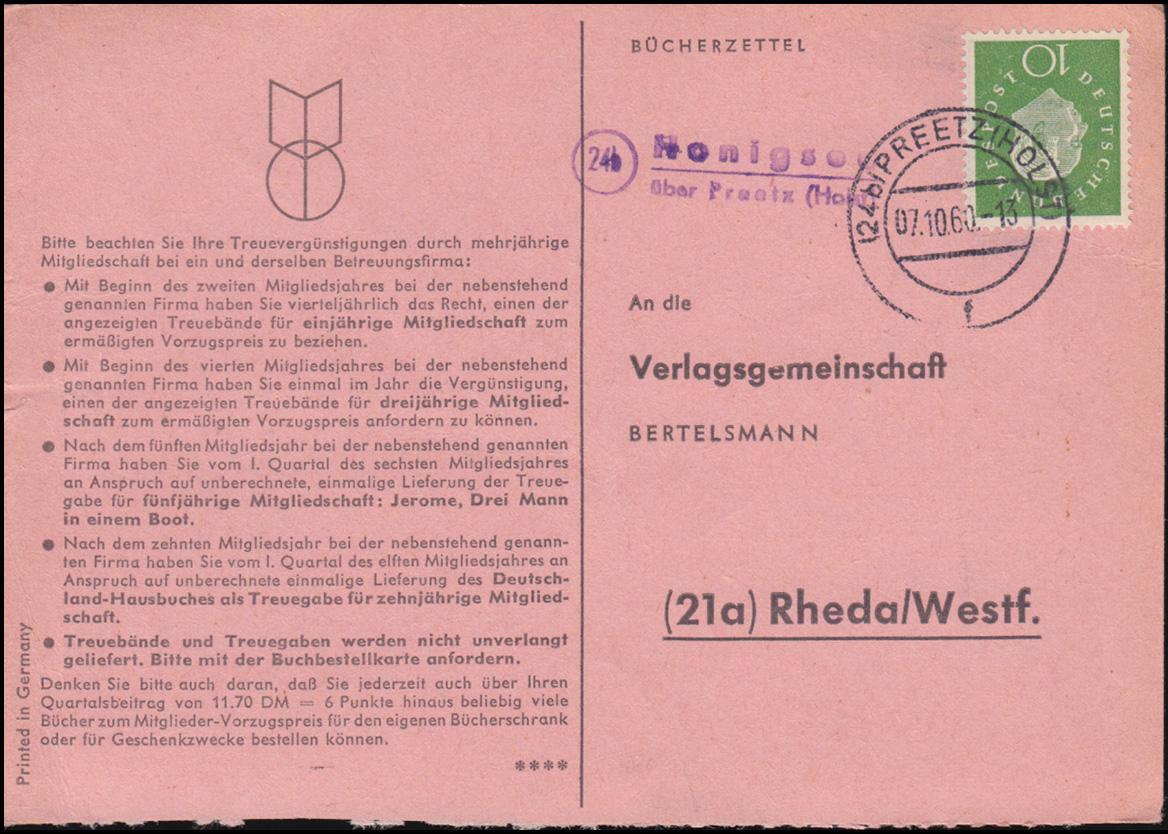Landpost Honigsee über PREETZ (HOLST) 7.10.60 auf Bücherzettel nach Rheda/Westf. 0