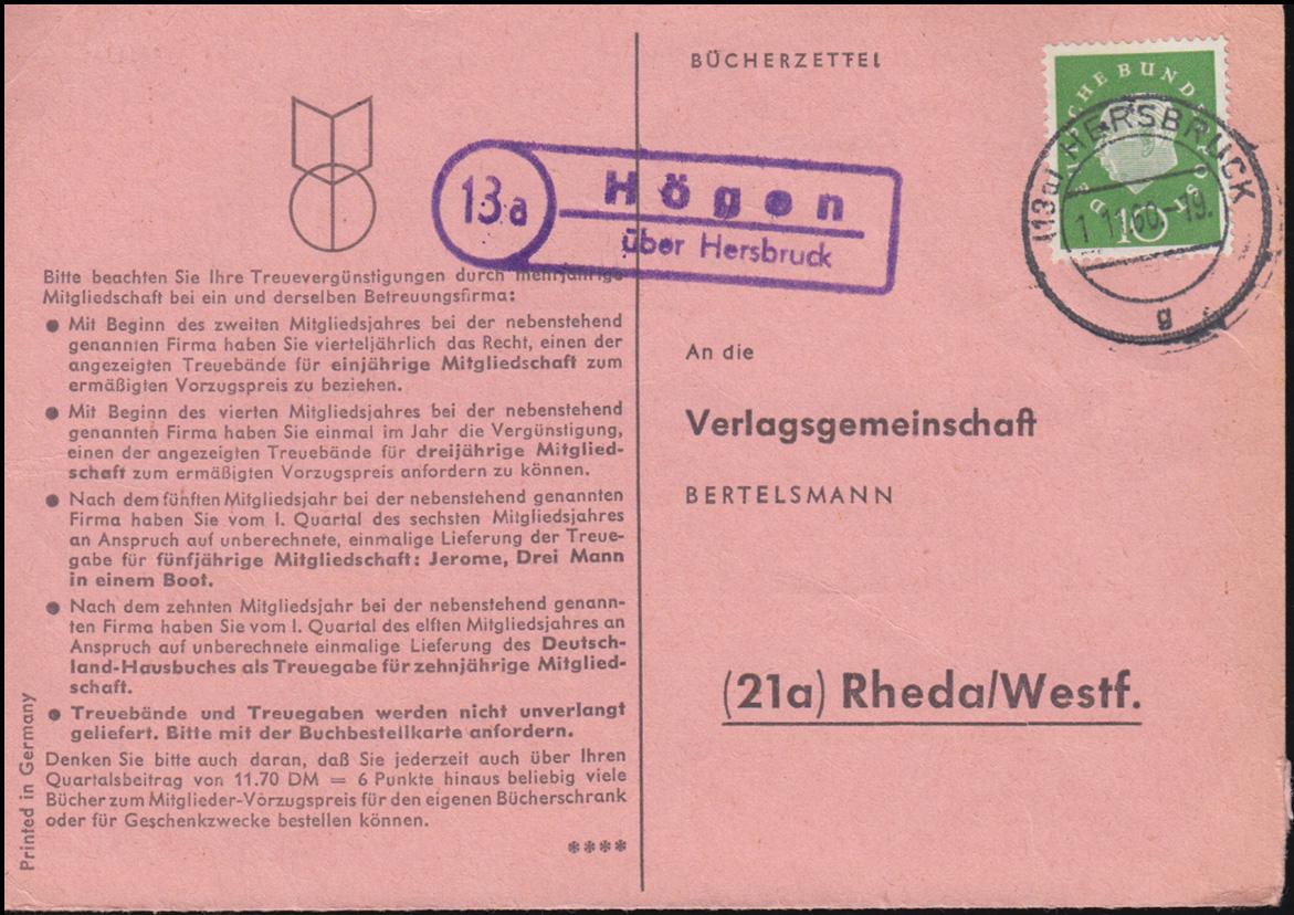 Landpost Högen über HERSBRUCK 1.11.1960 auf Bücherzettel nach Rheda/Westf. 0