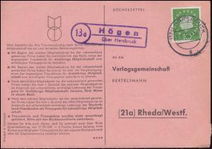 Landpost Högen über HERSBRUCK 1.11.1960 auf Bücherzettel nach Rheda/Westf.