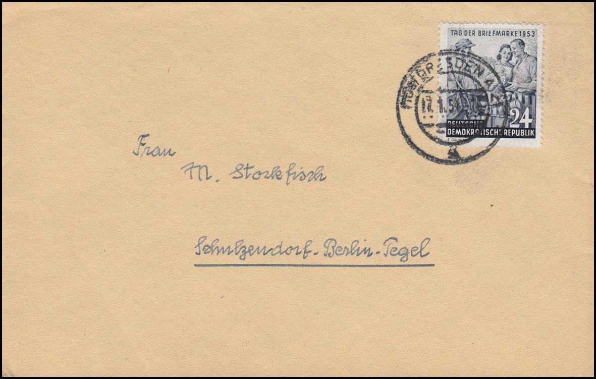 396 Tag der Briefmarke 1953 als EF auf Brief DRESDEN 17.1.1954 nach Berlin-Tegel 0