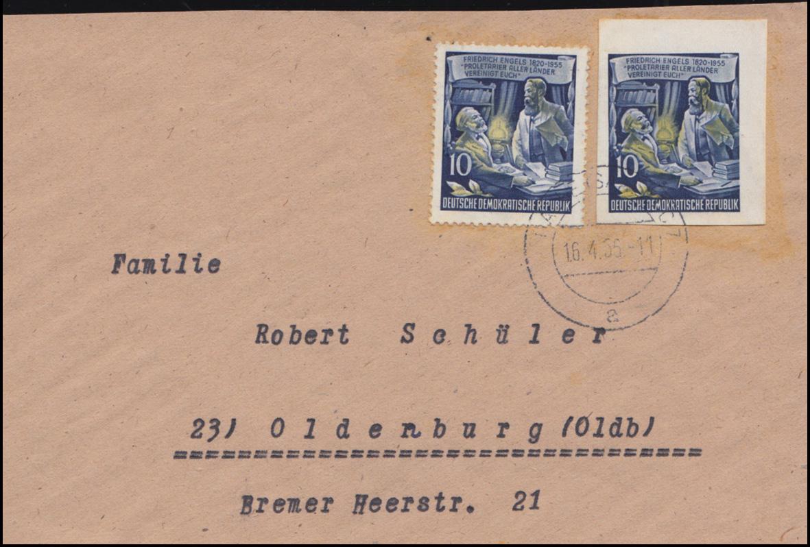 486A und B - Engels gezähnt und geschnitten auf Briefstück HALLE/SAALE 16.4.56 0