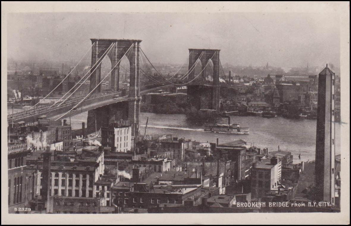 USA-Ansichtskarte Brooklyn-Bridge, BROOKLYN N.Y. 28.8.11 nach Steglitz/Berlin 0