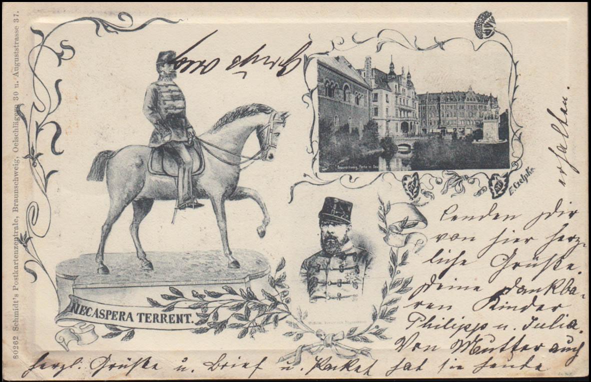 Ansichtskarte NEC ASPERA TERRENT, BRAUNSCHWEIG 18.5.1906 nach BLANKENBURG 19.5. 0