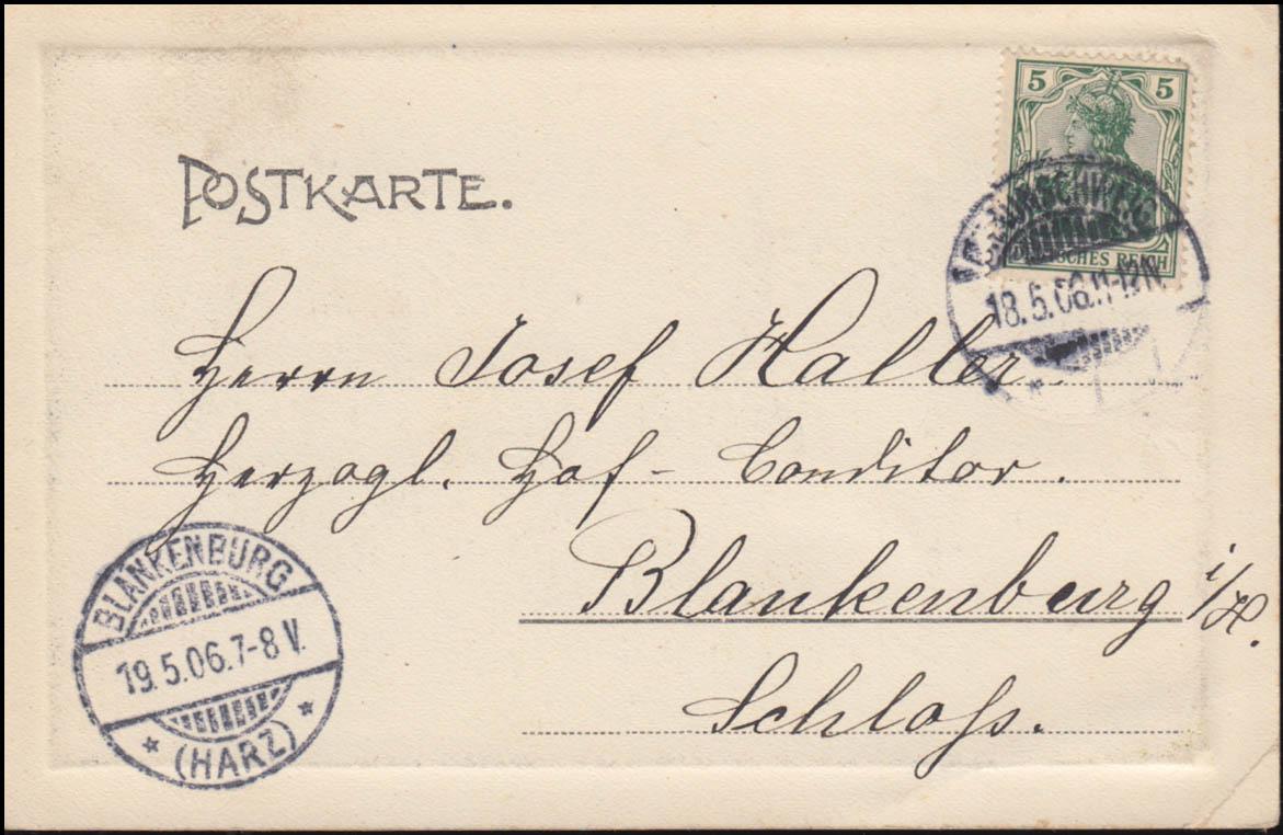 Ansichtskarte NEC ASPERA TERRENT, BRAUNSCHWEIG 18.5.1906 nach BLANKENBURG 19.5. 1