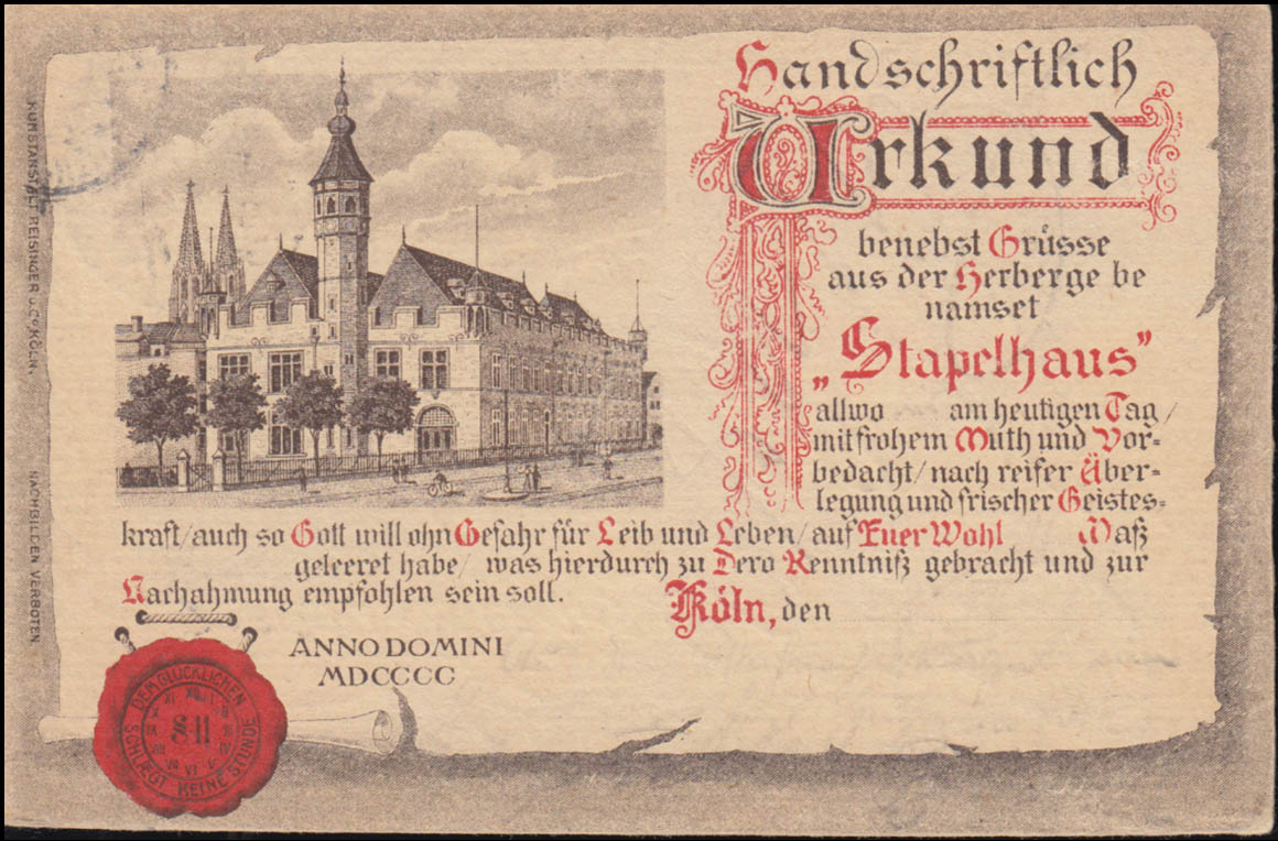 Ansichtskarte Köln Herberge Stapelhaus, CÖLN 29.12.1902 nach BERNCASTEL 29.12.02 0