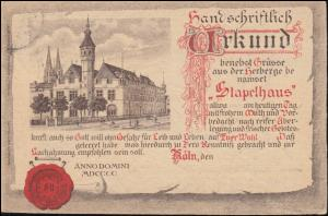 Ansichtskarte Köln Herberge Stapelhaus, CÖLN 29.12.1902 nach BERNCASTEL 29.12.02