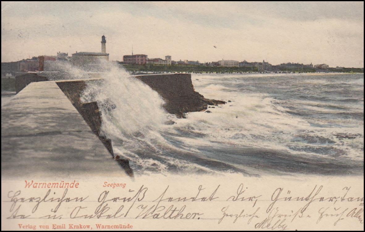 Ansichtskarte Warnemünde Seegang an der Mole 18.7.1902 nach BERLIN 19.7.02 0