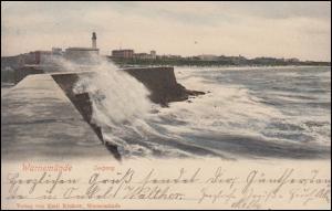 Ansichtskarte Warnemünde Seegang an der Mole 18.7.1902 nach BERLIN 19.7.02