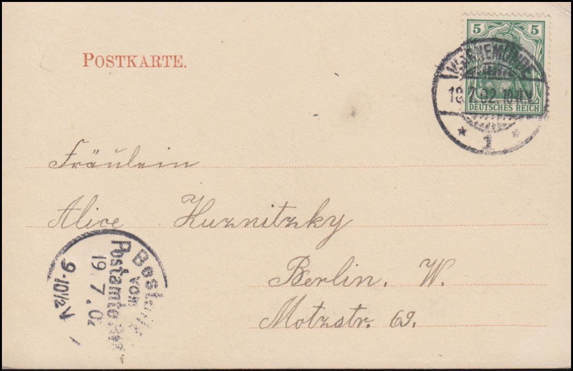 Ansichtskarte Warnemünde Seegang an der Mole 18.7.1902 nach BERLIN 19.7.02 1