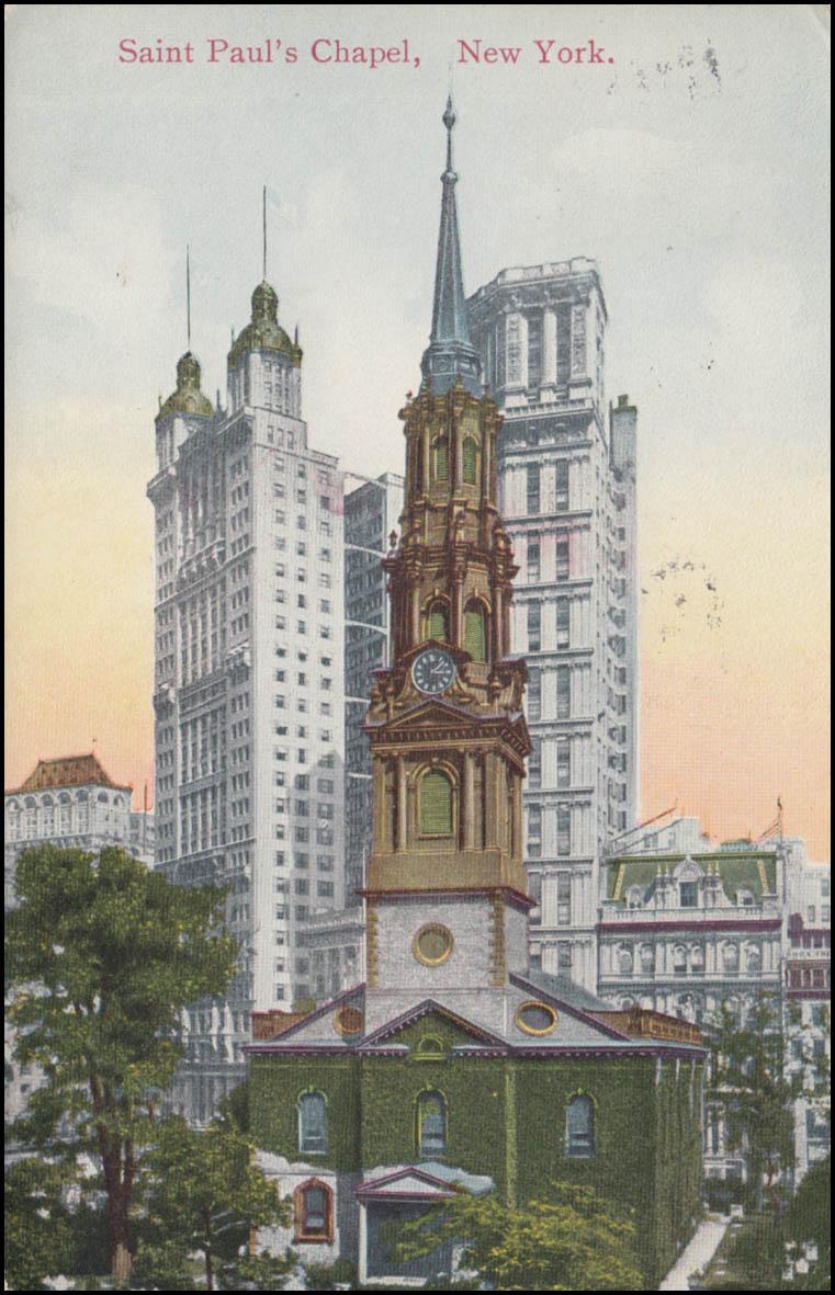 USA-Ansichtskarte New York Saint-Paul´s Kapelle, BROOKLYN N.Y. 23.11.1910 0
