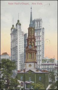 USA-Ansichtskarte New York Saint-Paul´s Kapelle, BROOKLYN N.Y. 23.11.1910