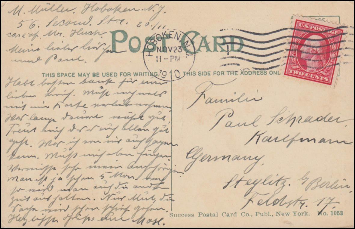 USA-Ansichtskarte New York Saint-Paul´s Kapelle, BROOKLYN N.Y. 23.11.1910 1