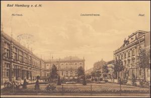 Ansichtskarte Kurhaus - Louisenstraße - Postamt BAD HOMBURG  v.d. HÖHE 17.5.12