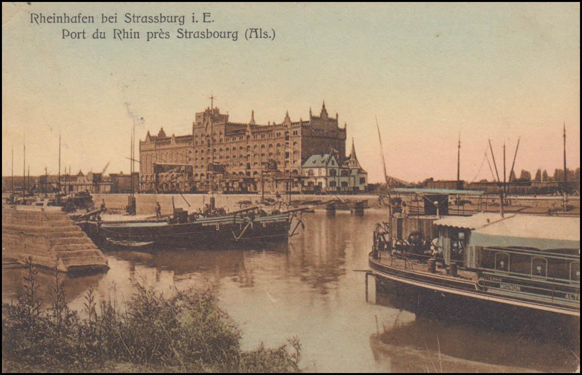 Ansichtskarte Rheinhafen bei STRASSBURG (ELSASS) 23.4.1907 nach Monte Carlo 0