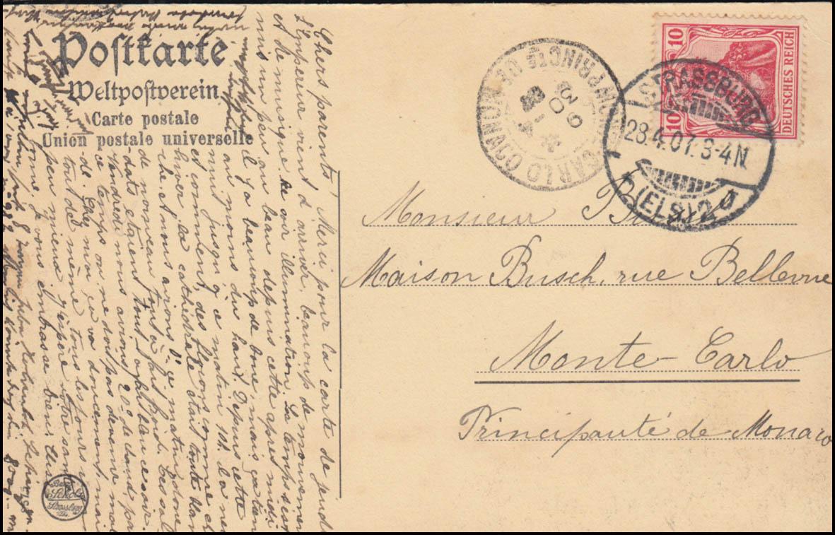 Ansichtskarte Rheinhafen bei STRASSBURG (ELSASS) 23.4.1907 nach Monte Carlo 1