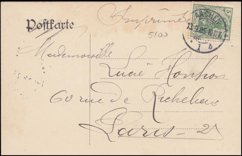 Ansichtskarte Waldschlösschen im Stadtwald in AACHEN 13.9.1905 1