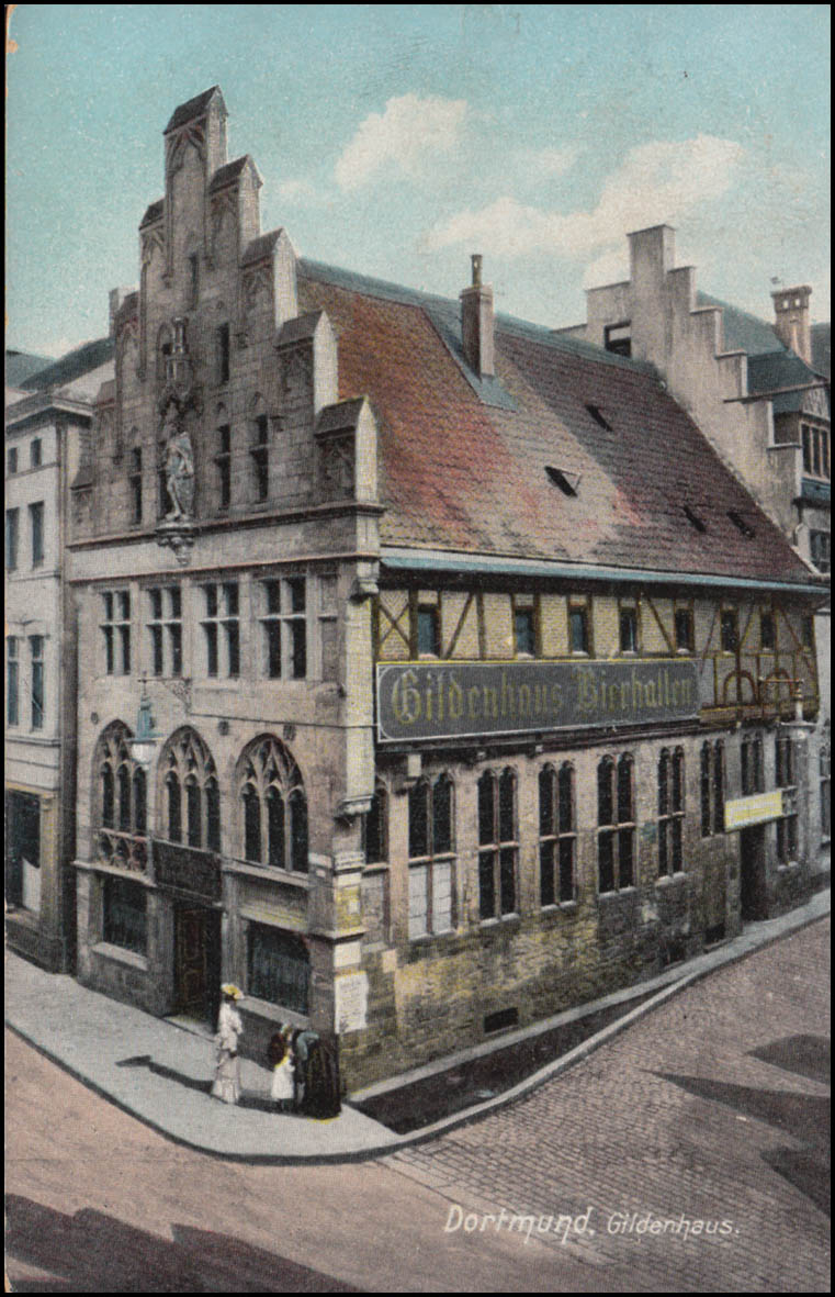 Bahnpost CÖLN-DORTMUND 384 - 3.11.1907 auf AK Dortmund Gildenhaus nach Pilsen 0