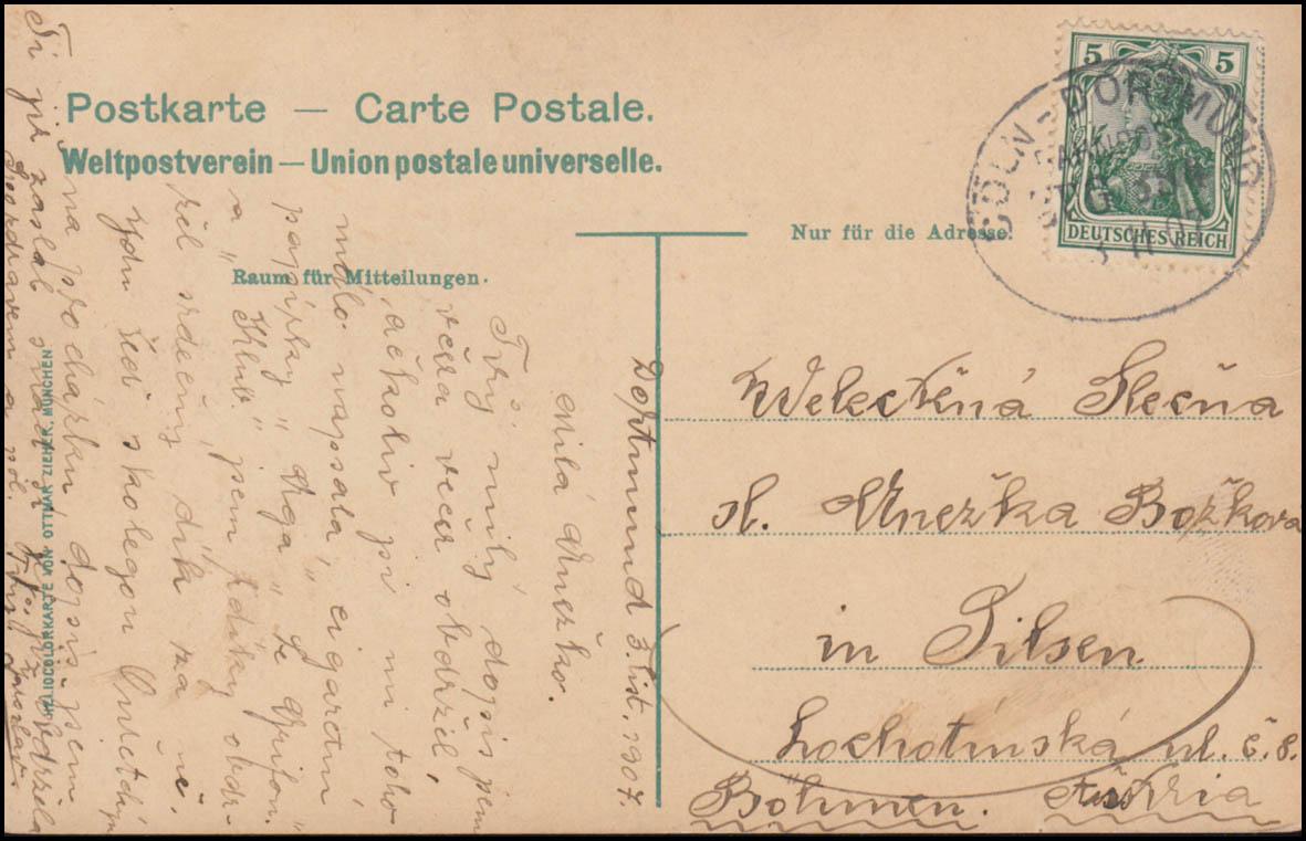 Bahnpost CÖLN-DORTMUND 384 - 3.11.1907 auf AK Dortmund Gildenhaus nach Pilsen 1