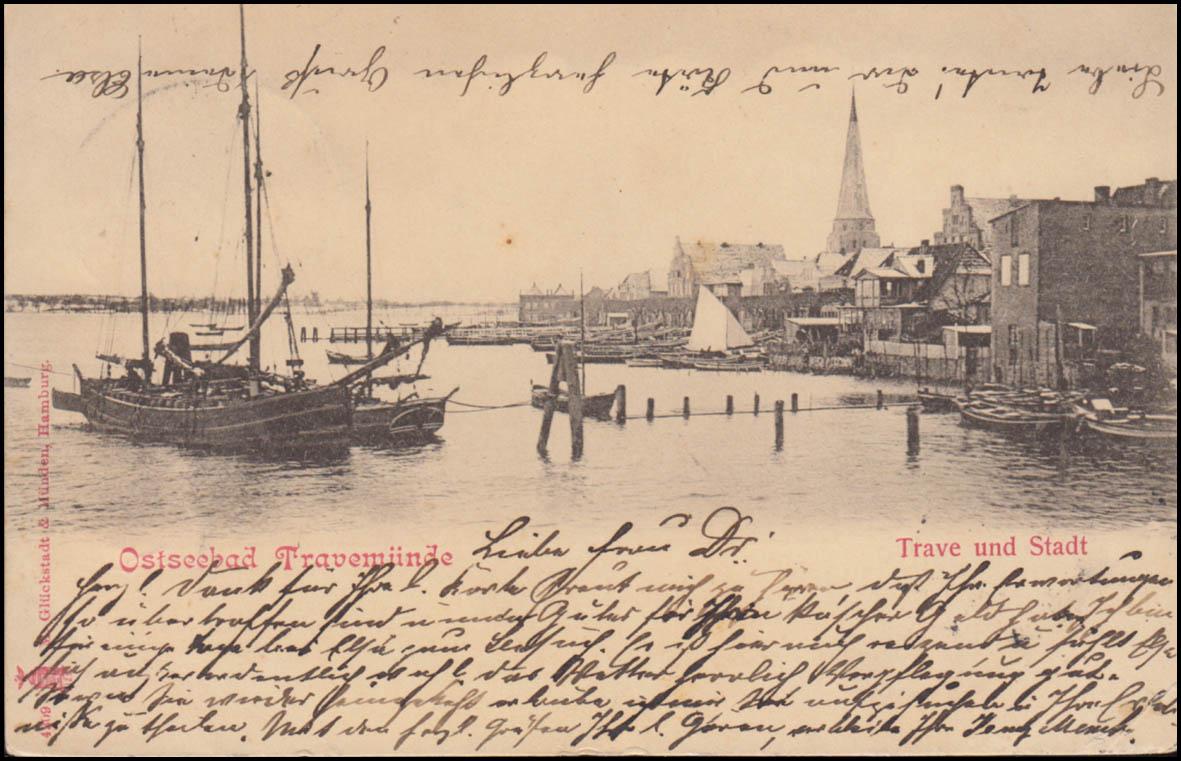Bahnpost LÜBECK-TRAVEMÜNDE ZUG 57 - 2.8.1901 auf AK Travemünde Trave und Stadt 0