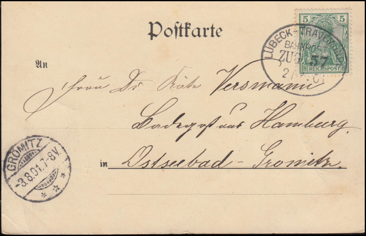 Bahnpost LÜBECK-TRAVEMÜNDE ZUG 57 - 2.8.1901 auf AK Travemünde Trave und Stadt 1