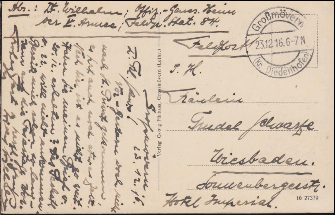 Ansichtskarte Schloß D.W. bei Joeuf-Großmövern / Diedenhofen 23.12.1916  1