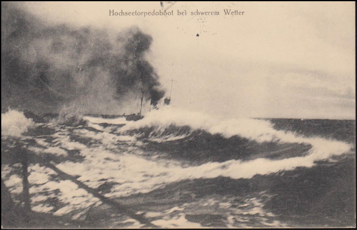 Feldpost BS XI. Matr.-Artillerie-Abt. auf AK Torpedoboot PROBSTEIERHAGEN 18.5.16 1