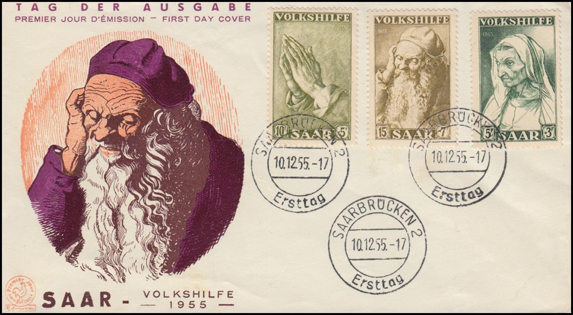 365-367 Volkshilfe Gemälde Dürer 1955 - auf Schmuck-FDC Saarbrücken 2 - 10.12.55 0