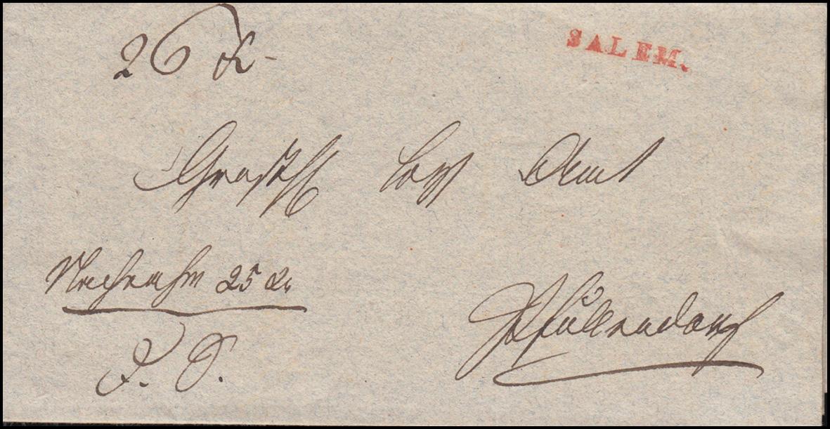 Baden Vorphilatelie Faltbrief roter Einzeiler SALEM geschrieben 4.8.1836 0