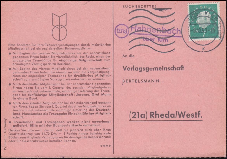 Landpost Hahnenbach über KIRN 8.10.1960 auf Bücherzettel nach Rheda/Westf. 0