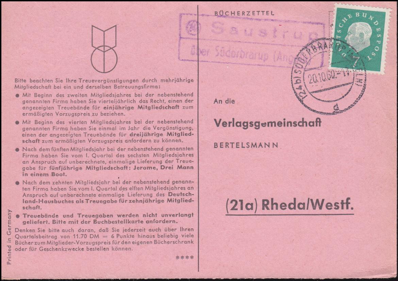 Landpost Saustrup über SÜDERBRARUP (ANGELN) 20.10.60 auf Bücherzettel nach Rheda 0