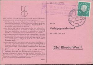 Landpost Saustrup über SÜDERBRARUP (ANGELN) 20.10.60 auf Bücherzettel nach Rheda