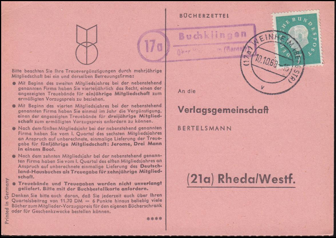 Landpost Buchklingen über WEINHEIM (BERGSTR) 10.10.60 Bücherzettel nach Rheda 0